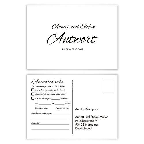 50 x Antwortkarte Hochzeit Hochzeitskarten Antwort Postkarte - Black and White Schlicht