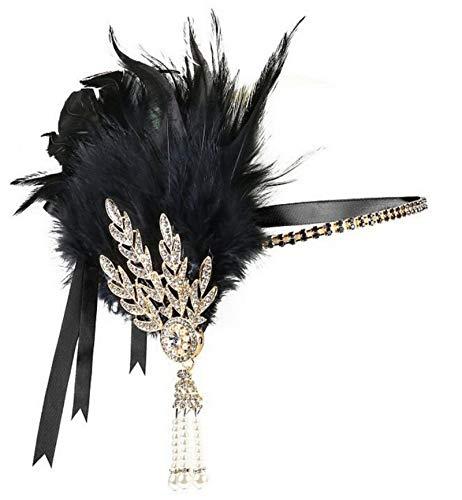 Jahre Zubehör Set Flapper Kostüm Feder Blatt Quaste Stirnband 20s Kostüme Inspiriert Accessoires Schwarz B ()