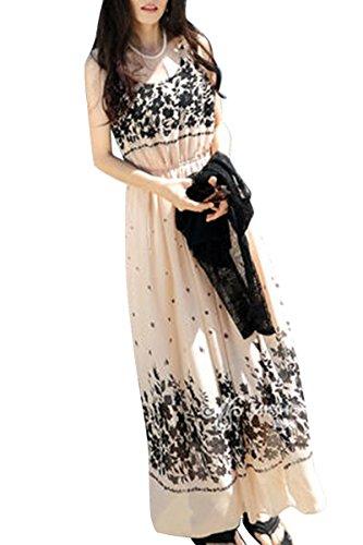 Moollyfox Femmes Sans Manches Robe Plage Robe De Vacances Floral Jupe Bohème De Plage Robe De Mousseline Abricot