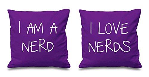 I AM A Nerd I Love Nerds Violet Housses de coussin 40,6 x 40,6 cm Couples Coussins Saint Valentin Anniversaire de mariage Chambre à coucher Coussin décoratif Maison