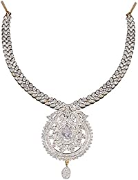 DS Gold Platedd American Diamond Party Wear Necklace Set With Earrings For Girls And Women(DS165)