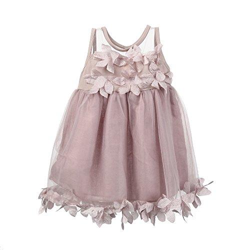 (YEARNLY Baby Sommer Mädchen Kleidung Applique Prinzessin Kleid Kinder Pettiskirt Mesh Kleidung niedlich schöne Mode Weiß, Pink 70, 80, 90, 100)