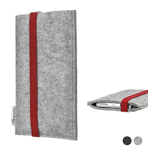 flat.design Handy Hülle Coimbra für Shift Shift6m individualisierbare Handytasche Filz Tasche rot grau