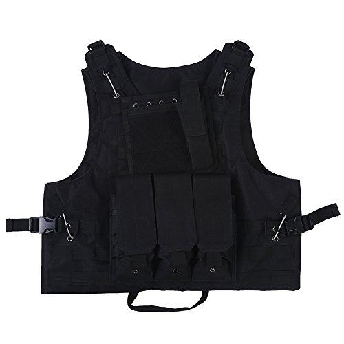 Gilet Tactique Veste Molle Noir avec Multiples Poches pour Chasse Camping Randonnée Pêche Jeux CS Airsoft Activités en Plein Air (Couleur : Noir)