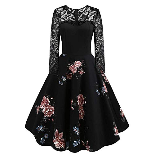 Geshu Women's 2019 Sexy Prom Party Round Neck Holiday Long Sleeve Evening Dresses S-XL,Black,L -