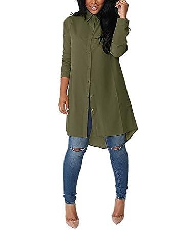 Yidarton Damen Hemdkleid V-Ausschnitt Button Chiffon Langarm Slim Casual Blusenkleid Minikleid Bluse Tops (Medium, Grün)