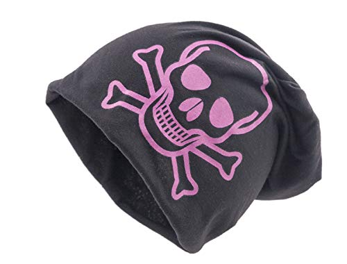 Chemomützen unisex dünne feine Mütze bei Haarausfall Haarverlust Chemotherapie Kappe Beanie (schwarz mit pinkem Totenkopf XXL)