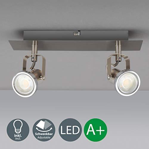 LED Deckenleuchte I schwenkbare Decken-Lampe I 2 flammig I inkl. 2 x 5 W Leuchtmittel I mit beweglichen Decken-Spots I WohnzimmerlampeI Metall I 230V I GU10