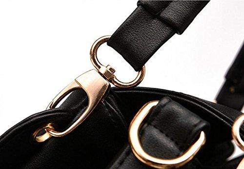 Sacchetto Di Spalla Portatile Signora Messenger Bag Secchiello Tre Cerniera Red