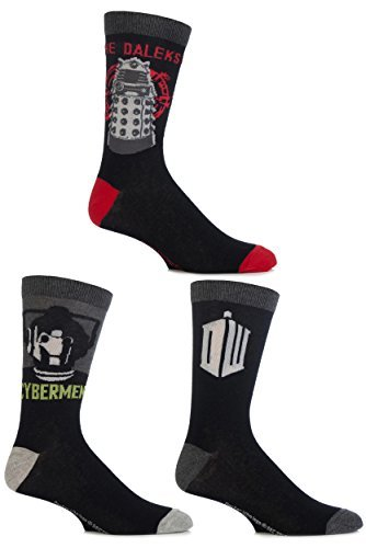 Film & TV Characters Mens 3 Pair SockShop Doctor Who Socken 11-13 Mens Assorted (Crew Pack 3-pair)