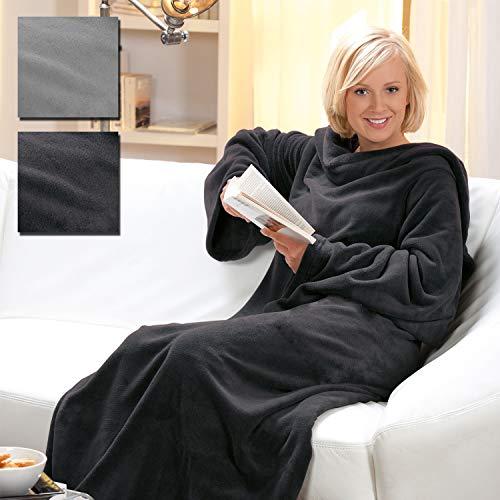 Kuscheldecke mit Ärmeln XXL 150x240 cm TV-Decke Cashmere Touch Deluxe - flauschig weiche und warme Wohndecke - Microfaser Ärmeldecke ideal für die kalte Jahreszeit, Farbe:Anthrazit