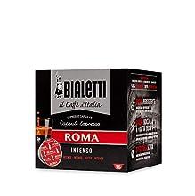 BIALETTI – Café Roma - 16 Capsules Mokespresso « I Caffè d'Italia » - Arôme Noisette et Fruits Secs - Café Fort et Insense