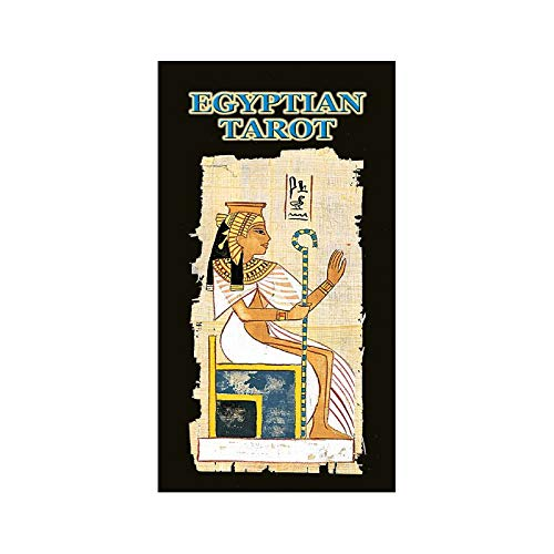 The Egyptian Tarot has 78 cards in typical Ancient Egyptian artistic style, line-drawn in brown on a mottled papyrus-like background. Majors have themed titles and Tarot-like scenes, while the minors have decorated pips in suits of Pentacles, Cups, S...