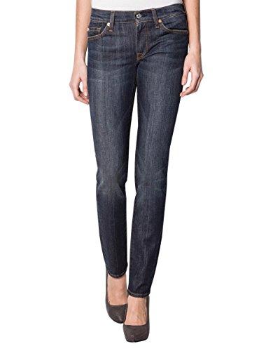 7 For All Mankind Damen Jeans Baum Wolle Denim-Hose Unifarben, Größe: 32, Farbe: Blau -