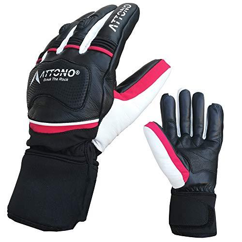 ATTONO Damen Skihandschuhe Leder mit Softshell Ski Race Snowboard Handschuhe - Größe M -