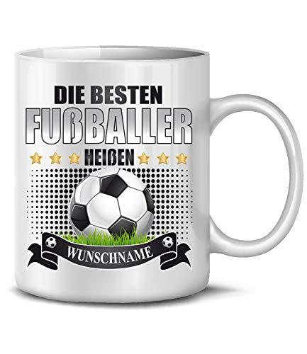 Golebros Die beesten Fußballer heißen Wunschname 6327 Fanartikel Fussballtasse Geburtstag Geschenke Jungen Tasse Becher Kaffeetasse Kaffeebecher Weiss