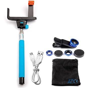 JZK® Selfie stick bluetooth/manche telescopique telephon/ bâton selfie/monopode smartphone/Monopied Télescopique/Autoportrait photo extensible bâton selfie bleu + 3 en 1 L'objectif fish-eye à 180° + l'objectif grand angle + l'objectif Micro pour iPhone 6 Plus, 6, 5 5G 5S 5C 4S 4 4G 3GS Samsung GALAXY S2 I9100 S3 I9300 S4 I9500 S5 I9600 Note I9220 Note2 N7100 Note3 S3 mini i8190 S7562 HTC Nok