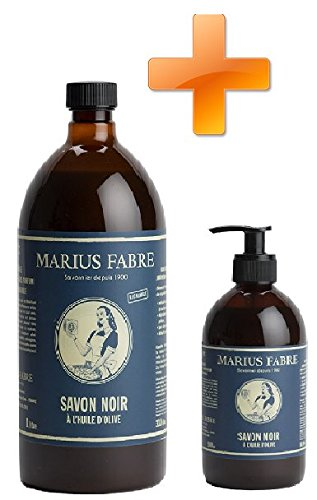 Marius Fabre Nature - Kit Nettoyant universel naturel - Distributeur de Savon noir à L'huile d'Olive 500 ml + Recharge 1 Litre