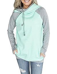 JackenLOVE Damen Sweatshirt Langarm Rollkragen mit Reißverschluss Hoodies  Pullover Kampffarbe Kapuzenpullover Pulli Outerwear a88899906b