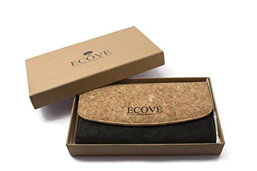 ECOVE - hochwertige und elegante Kork Damengeldbörse, Portemonnaie, Geldbörse mit vielen Fächern, Größe: 19cm x 10cm - 5