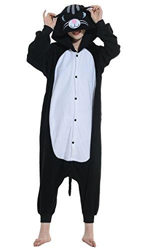 warz Katze Erwachsene Unisex Cospaly Onesies Nachtwäsche (Halloween Schwarze Katze Kigurumi)