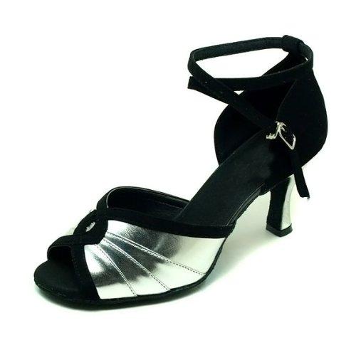 Colorfulworldstore Chaussures de danse latine pour dame en velours noir et boucle PU repliable Noir et argent