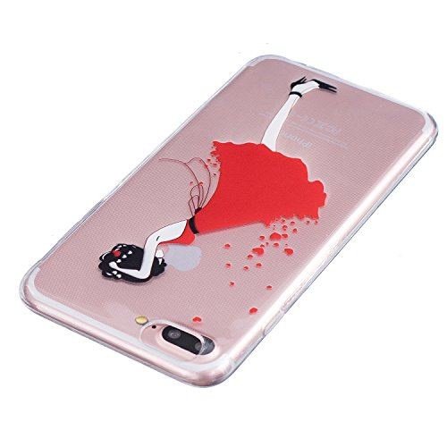 iPhone 7s Plus Hülle Silikon, LuckyW TPU Handyhülle für Apple iPhone 7/7S Plus(5.5 zoll) Soft Silikon Tasche Transparent Schale Clear Klar Hanytasche Durchsichtig Rückschale Ultra Slim Thin Dünne Schu Herz Liebe Mädchen