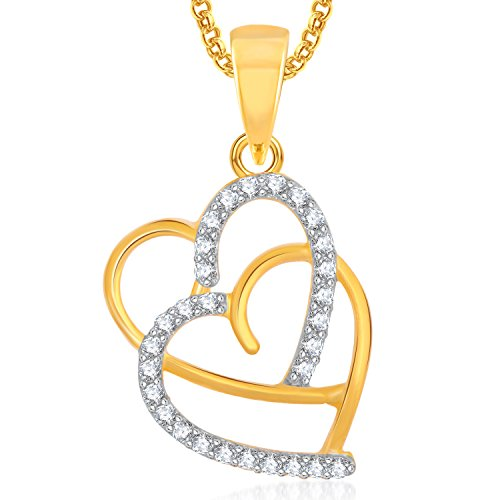 Meenaz Gold Plated Heart Pendant Locket Love Valentine Gifts With Chain In American Diamond Cz Jewellery Set For Girls Women PS359  available at amazon for Rs.251
