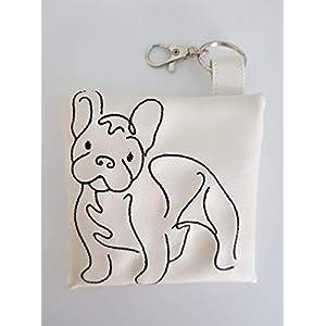 Kotbeutelspender für Hunde Französische Bulldogge French Bulldog aus pflegeleichtem Kunstleder weiss