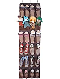 VORCOOL Hanging Shoe Organizer Over The Door Storage Holder Rack With 24 Mesh Breathable Pockets (Coffee)