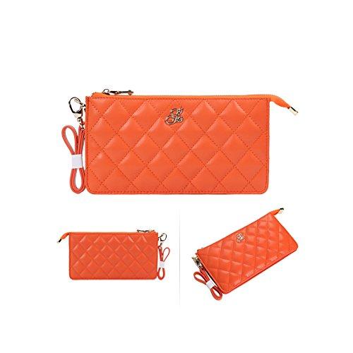 Grande capacità lusso Portafoglio da donna in pelle, borse-Portafogli con portamonete e porta carte di credito e tasca con Pocket Arancione