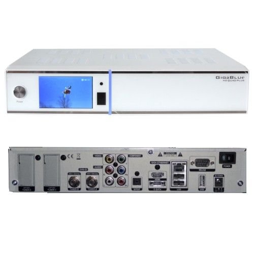 GigaBlue HD Quad PLUS weiss 2x DVB-S2 HDTV Linux HbbTV LAN Sat Receiver inkl. 2000 GB Festplatte - Quad Plus Hd