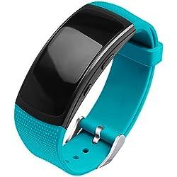 OenFoto Bracelet Compatible Gear Fit2 Pro/ Fit2, Bande de Remplacement en Silicone pour Samsung Gear Fit 2 Pro SM-R365/ Gear Fit2 SM-R360 Smart Watch-Sarcelle