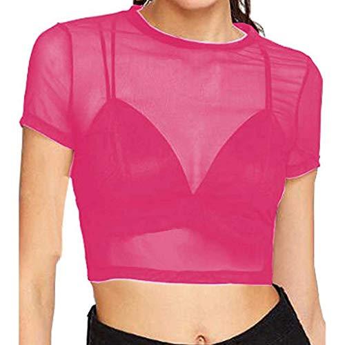 ssous, Damen transparente durchsichtige Kurzarm-Crop-Tops, lässiges T-Shirt ()
