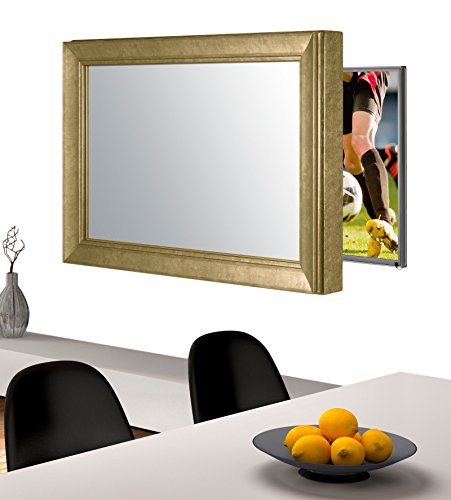 Handmade Framed Mirror to Turn Your Existing TV to Hidden Mirrored Television that Blends into Your Home or Business Decor (55 Inch, NY Gold Black)