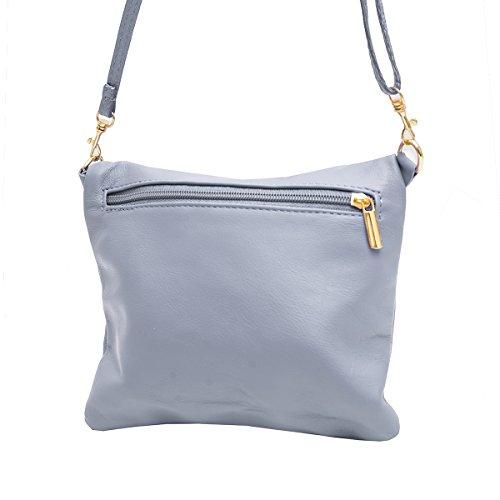 Borse a spalla ,Porchette, Minibag (21/ 17/ 3 cm)in pelle Mod. 2062 by Fashion-Formel Grigio