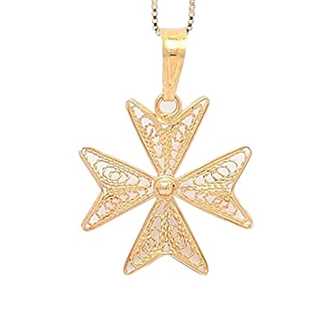 FILGREE Hallmarked MALTESE CROSS of St John 9ct 9k Gold Pendant Charm Handcrafted in Malta