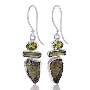 Moldavite, Peridot, Tourmaline 925 Sterling Silver Dangle Earrings
