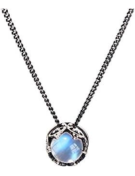 Luna Azure Vintage Stil Sterling Silber 925 Mondstein Krone Anhänger Halskette 18