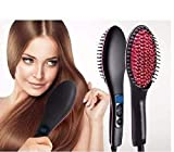 HARI OM CREATION Women's Nano 3 in 1 Electric Comb Brush Straightening LCD Screen with Temperature Control Display, Black