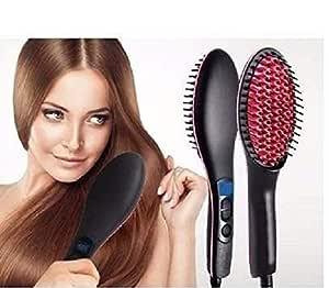 Mythili Essentials Besque 2 in 1 Straight Ceramic Hair Straightener Comb Curler and Styler Brush for Women (Black)