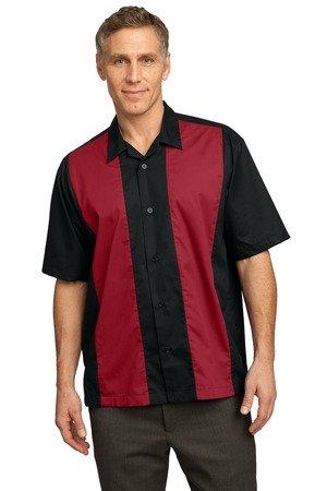 Port Authority Twill Retro Camp Shirt–Schwarz/Light Stone S Gr. XXX-Large, Schwarz/Red (Twill Port Shirt Authority)