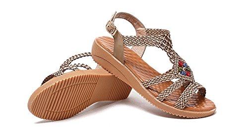 Wealsex damen sandalen bequem sommer schuhe Gold