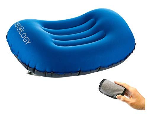 Trekology Ultralight aufblasbares Reise/Camping Kissen, komprimierbar, kompakt, aufblasbar, Komfortables, ergonomisches Kissen für Nacken & Lumbalstütze und für erholsamen Schlaf während Camping -
