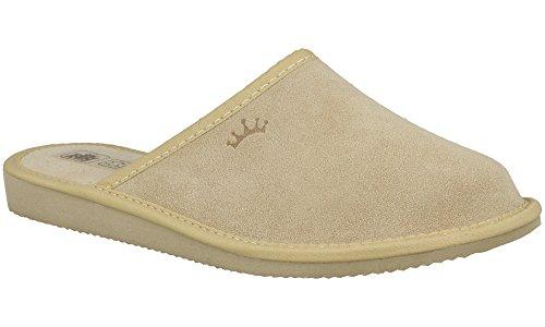 RBJ leather shoes . Damen Hausschuhe Velours Leder Pantoffeln – Atmungsaktiv, Warm und Gemütlich (38 EU, Beige 940A)