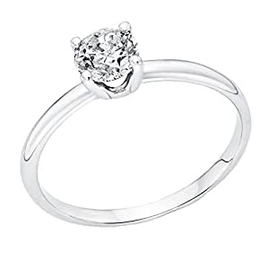 0.60 Carat Round Diamond Solitaire Engagement Ring in 18k white-gold KL I2-I3