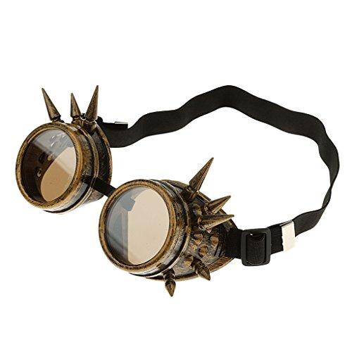 Moda Gafas De Sol Soldador Steampunk Gótico Picos Cosplay Vasos De Plata De época Para Mujer Hombre Unisex - Amarillo, 75mm x 3mm