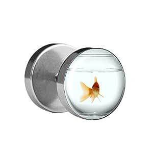 1x fake plug goldfisch im glas 10mm bild ohrstecker mit motiv zum schrauben. Black Bedroom Furniture Sets. Home Design Ideas