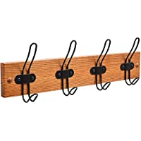 Tibres - Coat Hook Rack Wall & Door Mount for Clothes Jackets Hats Backpacks & Towels -Farmhouse Rustic Wall Hanger for Use in Entryway Bathroom & Bedroom - 4 Wire Hooks Matt Lacquer Solid Wooden Rail