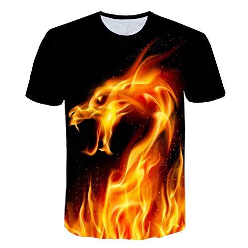 KSJbang Unisex T-Shirt/Sommer Kurzarm/Atmungsaktiv, bequem, schweißabweisend Anime Print Kurzarm/Sport T-Shirt / 3DT Shirt/Fire Dragon Print -